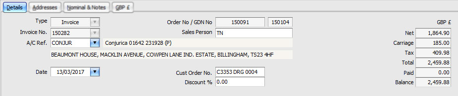Sales Invoice: Details Tab